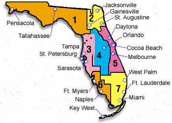 State of Florida divided into segments