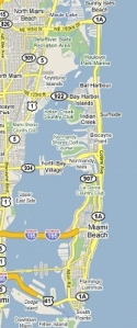 Miami Dade Beaches map
